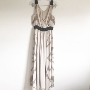 Express Light Tan Sheer Lined Maxi Dress sz M